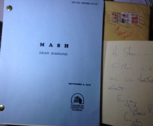 The script I've kept close at hand since it arrived as a gift from Mike Farrell & his note.
