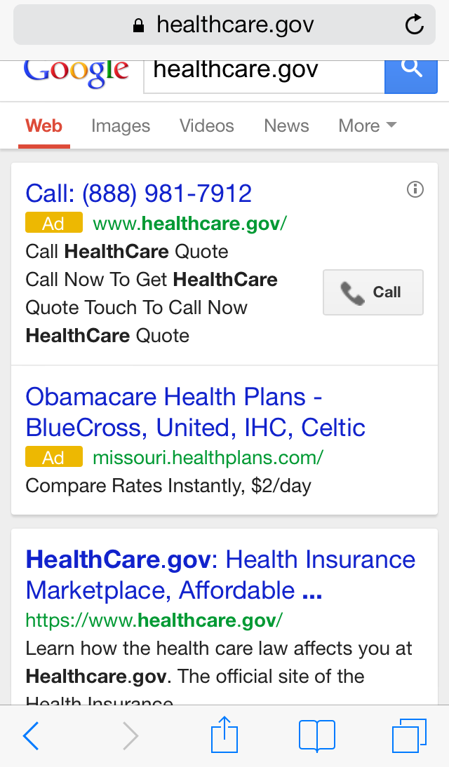 Healthcare Gov Quotes Alluring Google Clicktocall Ad For Healthcare.gov Is A Fake  Trust But
