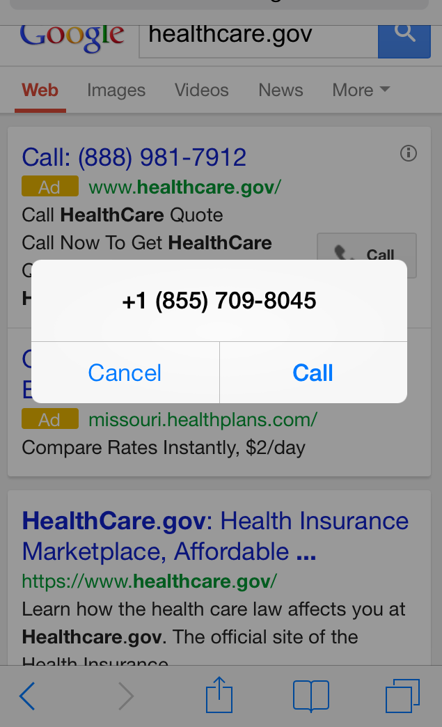 Healthcare Gov Quotes Awesome Google Clicktocall Ad For Healthcare.gov Is A Fake  Trust But
